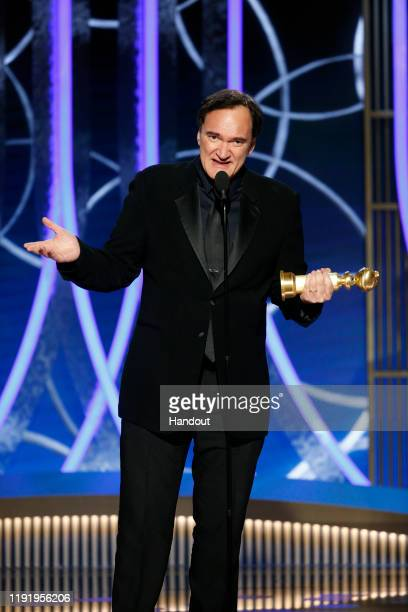 "In this handout photo provided by NBCUniversal Media, LLC, Quentin Tarantino accepts the award for BEST SCREENPLAY - MOTION PICTURE for ""Once Upon a..."