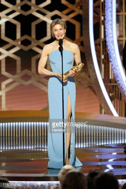 In this handout photo provided by NBCUniversal Media LLC Renee Zellweger accepts the award for BEST PERFORMANCE BY AN ACTRESS IN A MOTION PICTURE...