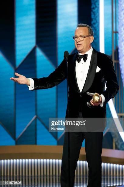 In this handout photo provided by NBCUniversal Media LLC Tom Hanks accepts the CECIL B DEMILLE AWARD onstage during the 77th Annual Golden Globe...
