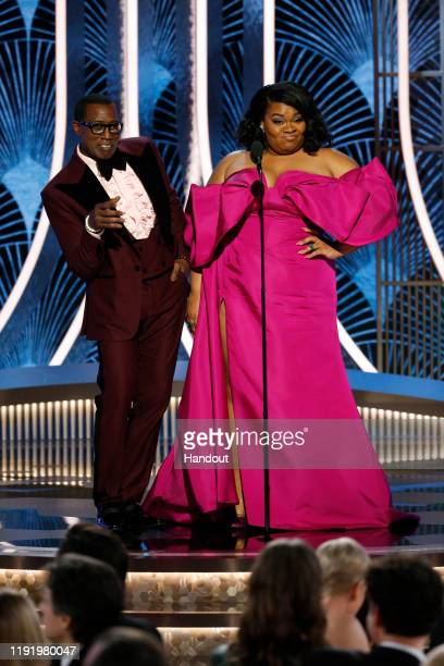 In this handout photo provided by NBCUniversal Media LLC Wesley Snipes and Da'Vine Joy Randolph speak onstage during the 77th Annual Golden Globe...