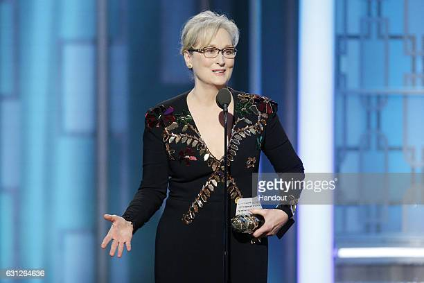 In this handout photo provided by NBCUniversal, Meryl Streep accepts Cecil B. DeMille Award during the 74th Annual Golden Globe Awards at The Beverly...