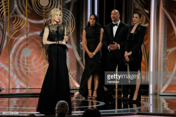 In this handout photo provided by NBCUniversal Nicole Kidman accepts the award for Best Performance by an Actress in a Limited Series or Motion...