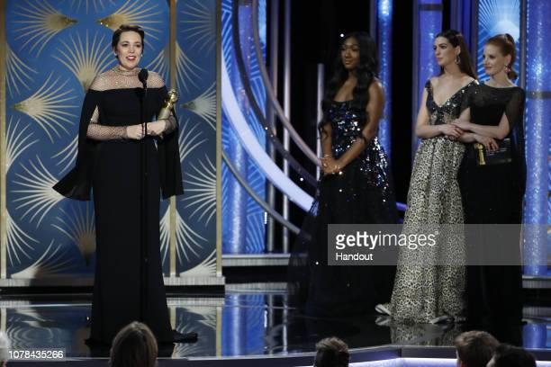 "In this handout photo provided by NBCUniversal Olivia Colman from ""The Favourite"" accepts the Best Actress in a Motion Picture – Musical or Comedy..."