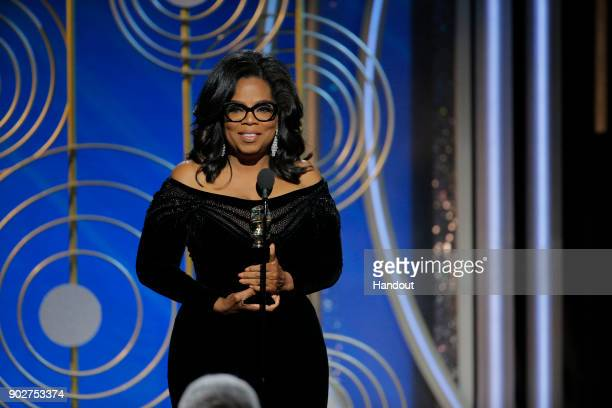 In this handout photo provided by NBCUniversal, Oprah Winfrey accepts the 2018 Cecil B. DeMille Award speaks onstage during the 75th Annual Golden...