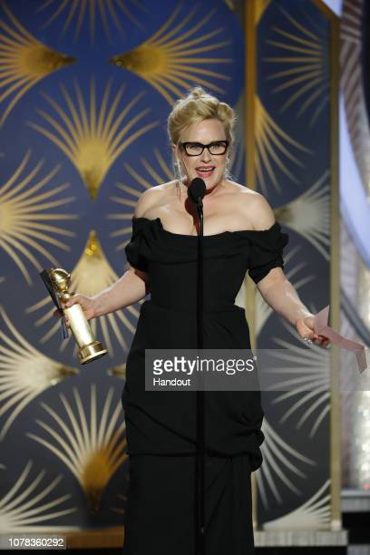 "In this handout photo provided by NBCUniversal Patricia Arquette from ""Escape at Dannemora"" accepts the Best Performance by an Actress in a Limited..."