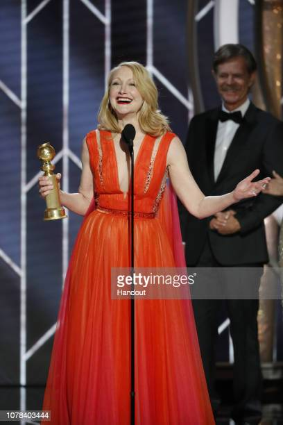 """In this handout photo provided by NBCUniversal Patricia Clarkson from """"Sharp Objects"""" accepts the Best Performance by an Actress in a Limited Series..."""