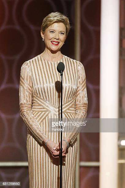 In this handout photo provided by NBCUniversal presenter Annette Benning onstage during the 74th Annual Golden Globe Awards at The Beverly Hilton...