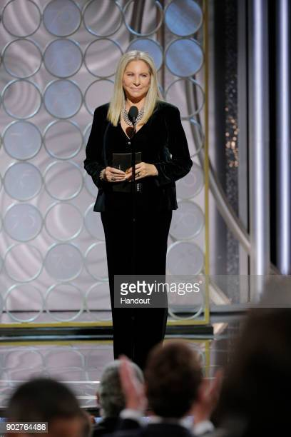 In this handout photo provided by NBCUniversal Presenter Barbra Streisand speaks onstage during the 75th Annual Golden Globe Awards at The Beverly...