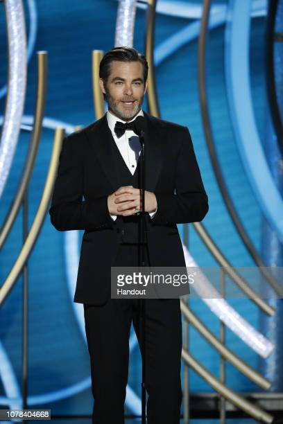 In this handout photo provided by NBCUniversal Presenter Chris Pine speaks onstage during the 76th Annual Golden Globe Awards at The Beverly Hilton...