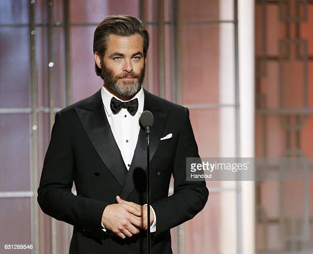 In this handout photo provided by NBCUniversal presenter Chris Pine onstage during the 74th Annual Golden Globe Awards at The Beverly Hilton Hotel on...