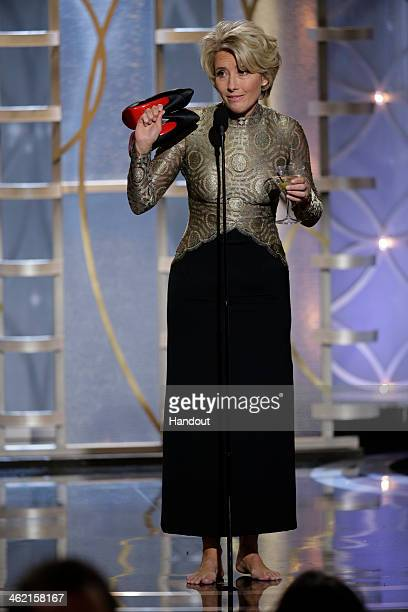 In this handout photo provided by NBCUniversal Presenter Emma Thompson speaks onstage during the 71st Annual Golden Globe Award at The Beverly Hilton...