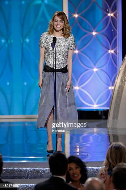 In this handout photo provided by NBCUniversal Presenter Emma Stone speaks onstage during the 71st Annual Golden Globe Award at The Beverly Hilton...