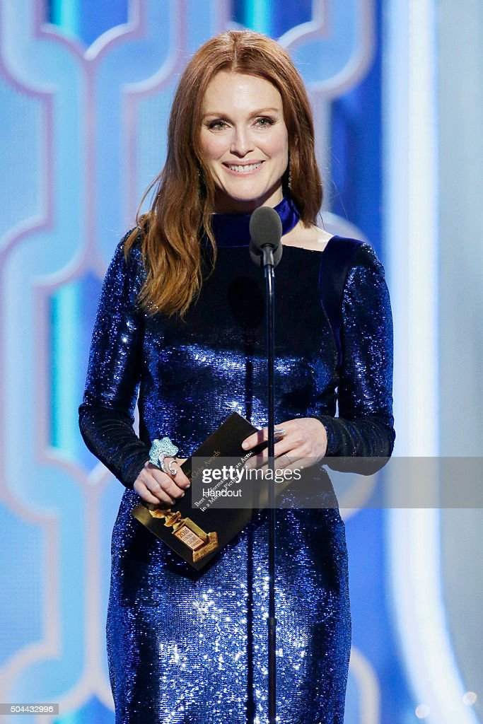 In this handout photo provided by NBCUniversal, Presenter Julianne Moore speaks onstage during the 73rd Annual Golden Globe Awards at The Beverly Hilton Hotel on January 10, 2016 in Beverly Hills, California.