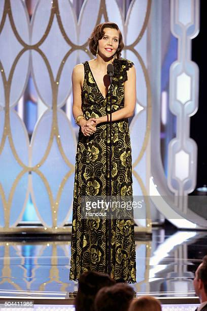 In this handout photo provided by NBCUniversal Presenter Maggie Gyllenhaal speaks onstage during the 73rd Annual Golden Globe Awards at The Beverly...