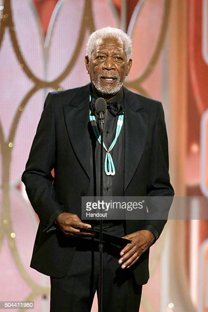 In this handout photo provided by NBCUniversal Presenter Morgan Freeman speaks onstage during the 73rd Annual Golden Globe Awards at The Beverly...