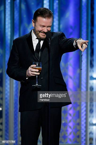 In this handout photo provided by NBCUniversal Presenter Ricky Gervais speaks onstage during the 72nd Annual Golden Globe Awards at The Beverly...