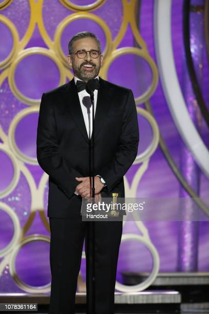 In this handout photo provided by NBCUniversal Presenter Steve Carell speaks onstage during the 76th Annual Golden Globe Awards at The Beverly Hilton...