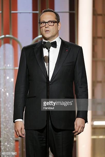 In this handout photo provided by NBCUniversal presenter Vince Vaughn onstage during the 74th Annual Golden Globe Awards at The Beverly Hilton Hotel...