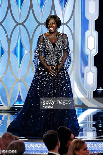 In this handout photo provided by NBCUniversal Presenter Viola Davis speaks onstage during the 73rd Annual Golden Globe Awards at The Beverly Hilton...