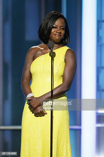 In this handout photo provided by NBCUniversal, presenter Viola Davis onstage during the 74th Annual Golden Globe Awards at The Beverly Hilton Hotel...