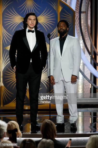 In this handout photo provided by NBCUniversal Presenters Adam Driver and John David Washington speak onstage during the 76th Annual Golden Globe...