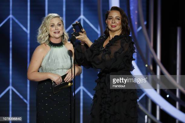In this handout photo provided by NBCUniversal Presenters Amy Poehler and Maya Rudolph speak onstage during the 76th Annual Golden Globe Awards at...