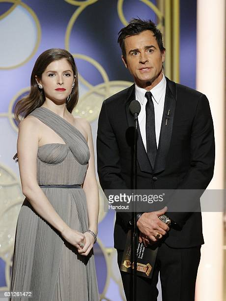In this handout photo provided by NBCUniversal presenters Anna Kendrick and Justin Theroux onstage during the 74th Annual Golden Globe Awards at The...