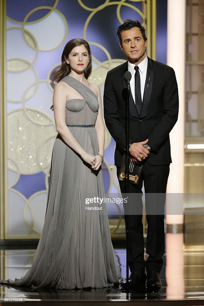 In this handout photo provided by NBCUniversal, presenters Anna Kendrick (L) and Justin Theroux onstage during the 74th Annual Golden Globe Awards at The Beverly Hilton Hotel on January 8, 2017 in Beverly Hills, California.