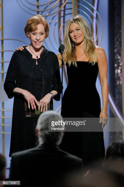 In this handout photo provided by NBCUniversal Presenters Carol Burnett and Jennifer Aniston onstage during the 75th Annual Golden Globe Awards at...