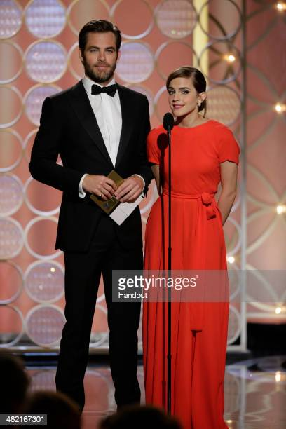 In this handout photo provided by NBCUniversal, Presenters Chris Pine and Emma Watson speak onstage during the 71st Annual Golden Globe Award at The...