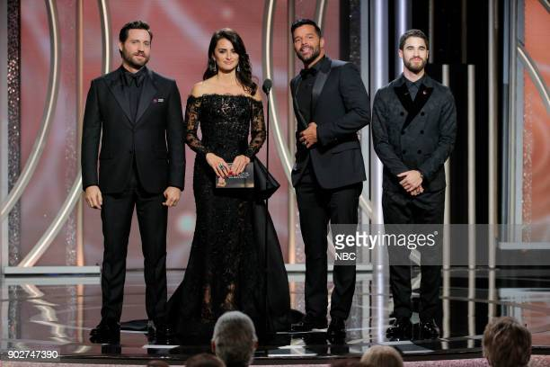 In this handout photo provided by NBCUniversal Presenters Edgar Ramirez Penelope Cruz Ricky Martin and Darren Criss speak onstage during the 75th...