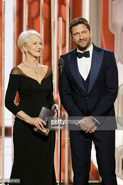 In this handout photo provided by NBCUniversal Presenters Helen Mirren and Gerard Butler speak onstage during the 73rd Annual Golden Globe Awards at...