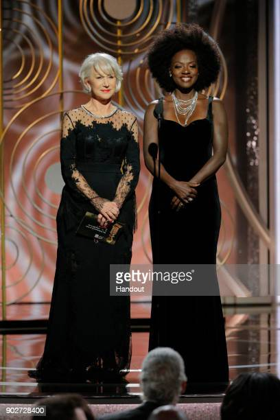 In this handout photo provided by NBCUniversal Presenters Helen Mirren and Viola Davis onstage during the 75th Annual Golden Globe Awards at The...
