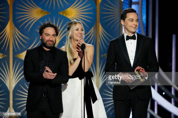 In this handout photo provided by NBCUniversal, Presenters Johnny Galecki, Kelly Cuoco and Jim Parsons speak onstage during the 76th Annual Golden...