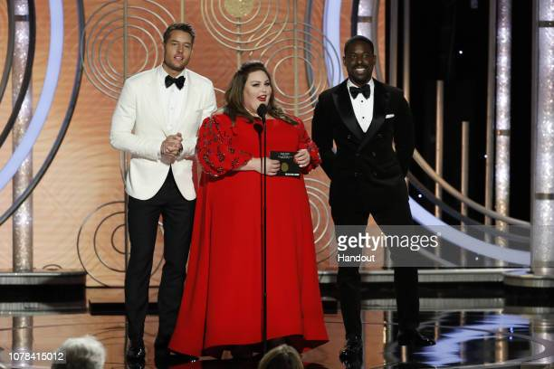 In this handout photo provided by NBCUniversal pRESENTERS Justin Hartley Chrissy Metz and Sterling K Brown speak onstage during the 76th Annual...