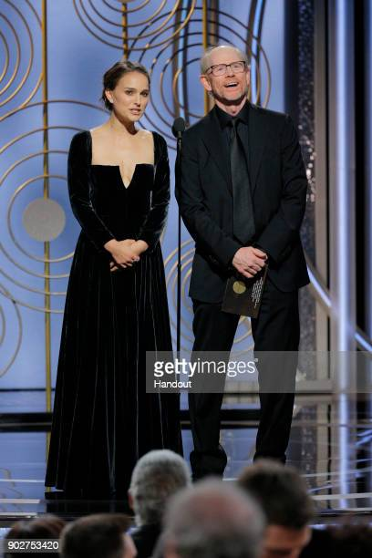 In this handout photo provided by NBCUniversal Presenters Natalie Portman and Ron Howard speak onstage during the 75th Annual Golden Globe Awards at...