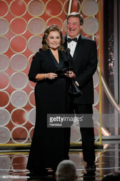 In this handout photo provided by NBCUniversal, Presenters Roseanne Bar and, John Goodman speak onstage during the 75th Annual Golden Globe Awards at...