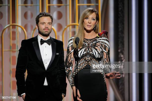 In this handout photo provided by NBCUniversal Presenters Sebastian Stan and Allison Janney speak onstage during the 75th Annual Golden Globe Awards...