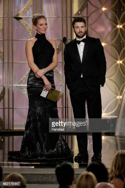 In this handout photo provided by NBCUniversal Presenters Uma Thurman and Chris Evans speak onstage during the 71st Annual Golden Globe Award at The...