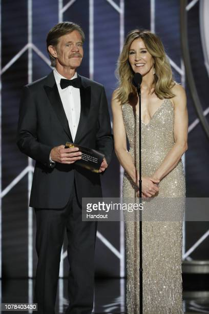 In this handout photo provided by NBCUniversal Presenters William H Macy and Felicity Huffman speak onstage during the 76th Annual Golden Globe...