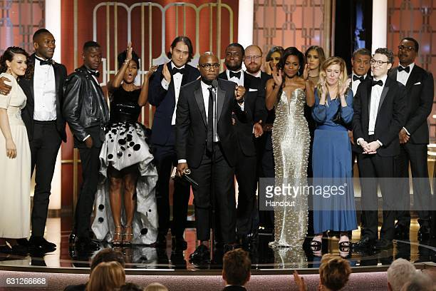 In this handout photo provided by NBCUniversal Producer Adele Romanski actors Mahershala Ali Ashton Sanders and Janelle Monae producer Jeremy Kleiner...