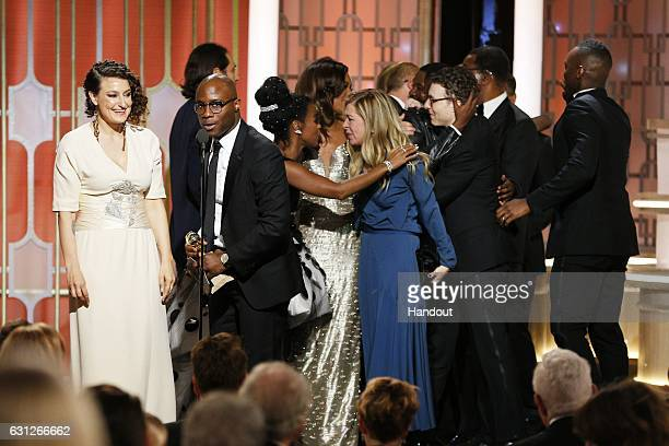 In this handout photo provided by NBCUniversal producer Adele Romanski director Barry Jenkins actress Janelle Monae and producer Dede Gardner and the...