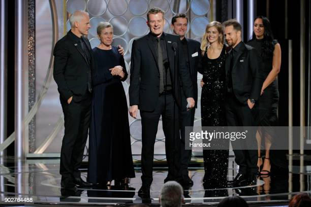 "In this handout photo provided by NBCUniversal Producer Graham Broadbent accepts the award for Best Picture – Drama for ""Three Billboards Outside..."
