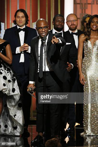 In this handout photo provided by NBCUniversal producer Jeremy Kleiner director Barry Jenkins actor Trevante Rhodes Cinematographer James Laxton and...