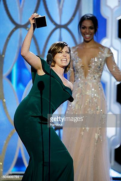 """In this handout photo provided by NBCUniversal, Rachel Bloom accepts the award for Best Actress - TV Series, Comedy or Musical for """"Crazy..."""