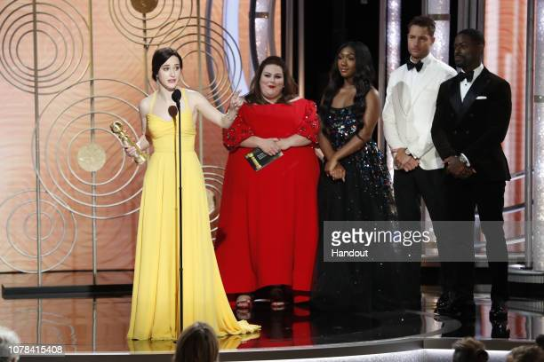"""In this handout photo provided by NBCUniversal Rachel Brosnahan from """"The Marvelous Mrs Maisel"""" accepts the Best Performance by an Actress in a..."""
