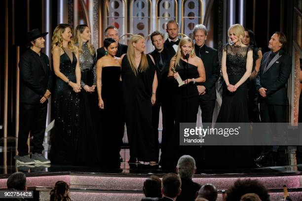 In this handout photo provided by NBCUniversal Reese Witherspoon accepts the award for Best Television Limited Series or Motion Picture Made for...