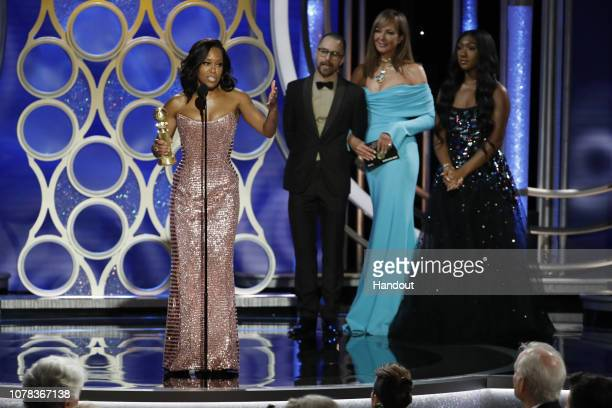 "In this handout photo provided by NBCUniversal, Regina King from ""If Beale Street Could Talk"" accepts the Best Actress in a Supporting Role in any..."