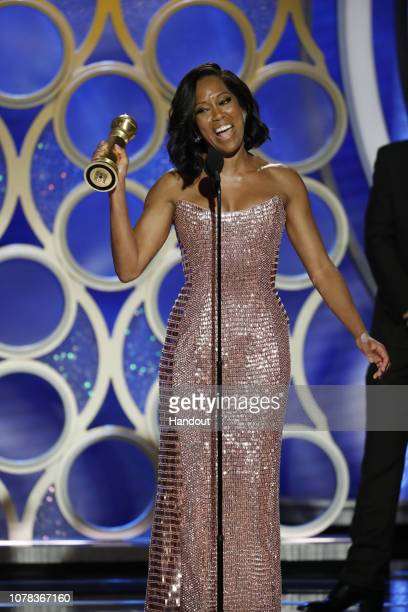 "In this handout photo provided by NBCUniversal Regina King from ""If Beale Street Could Talk"" accepts the Best Actress in a Supporting Role in any..."