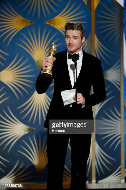 """In this handout photo provided by NBCUniversal Richard Madden from """"Bodyguard"""" accepts the Best Performance by an Actor in a Television Series –..."""